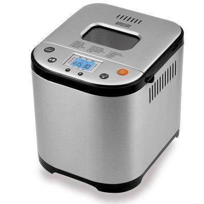 Хлебопечь Mystery MBM-1208 серебристый/черный (MBM-1208)Хлебопечи Mystery<br>хлебопечка<br>вес выпечки 1000 г<br>вес выпечки регулируется<br>выпечка в форме буханки<br>выбор цвета корочки<br>15 автоматических программ<br>быстрая выпечка<br>варка джема<br>ржаной хлеб<br>
