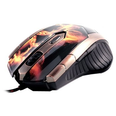 Мышь Crown CMXG-607 Fire (CMXG-607 (fire))Мыши Crown<br>проводная мышь интерфейс USB для настольного компьютера светодиодная, 6 клавиш разрешение сенсора мыши 2400 dpi<br>
