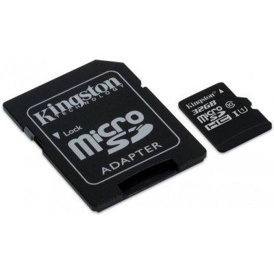 Карта памяти Kingston SDCIT/32GB (SDCIT/32GB)Карты памяти Kingston<br>карта памяти microSDHC, Class 10 объем 32 Гб скорость чтения 90 Мб/с скорость записи 45 Мб/с в комплекте адаптер на SD<br>