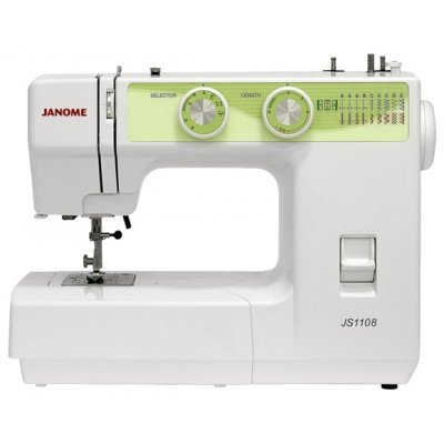 Швейная машина Janome JS 1108 белый/зеленый (JS1108)Швейные машины Janome<br>швейная машина<br>электромеханическое управление<br>качающийся челнок<br>количество операций: 9<br>полуавтоматическая обработка петли<br>обметочная строчка, потайная строчка, эластичная строчка<br>рукавная платформа<br>