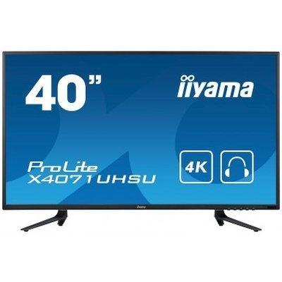 Монитор IIYAMA 40 X4071UHSU-B1 A (X4071UHSU-B1 A)Мониторы IIYAMA<br>Монитор LCD 40   (16:9) 3840 x 2160 MVA, nonGLARE, nonTOUCH, 350cd/m2, H178°/V178°, 5000:1, 12М:1, 16,7M Color, 3ms, VGA, HDMI2, HDMI/MHL, USB-Hub, Tilt, Speakers, 3Y, Black<br>