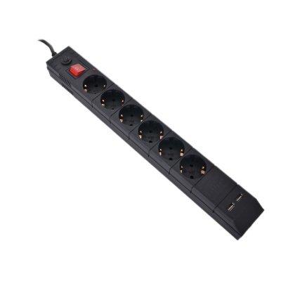 Сетевой фильтр Buro BU-SP1.8_USB_2A-B 1.8м (6 розеток) черный (BU-SP1.8_USB_2A-B) картридер buro bu cr 151 черный bu cr 151
