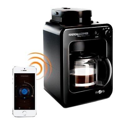 Кофеварка Redmond SkyCoffee RCM-M1505S (RCM-M1505S)Кофеварки Redmond<br>капельная кофеварка Bluetooth кофемолка с регулировкой степени помола отключение при неиспользовании постоянный фильтр корпус из пластика<br>