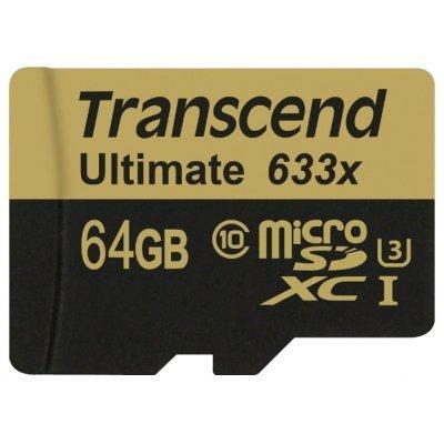 Карта памяти Transcend 64GB microSDXC Class10 UHS-I U3 633x w/adapter TS64GUSDU3 (TS64GUSDU3) transcend microsdxc class 10 uhs i 64gb карта памяти адаптер