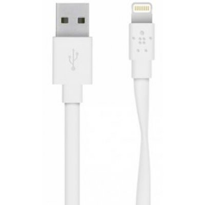 Кабель для смартфонов и планшетов Belkin Mixit Flat Lightning to USB Cable, White (1.2 m) (F8J148bt04-WHT) belkin mixit aux cable green