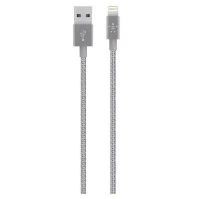 Кабель для смартфонов и планшетов Belkin Mixit Metallic Lightning to USB Cable, Gray (1.2 m) F8J144bt04-GRY (F8J144bt04-GRY) belkin mixit aux cable green