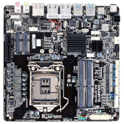 Материнская плата ПК Gigabyte GA-H110TN (rev. 1.0) (GA-H110TN)Материнские платы ПК Gigabyte<br>материнская плата форм-фактора mini-ITX сокет LGA1151 чипсет Intel H110 2 слота DDR4 SO-DIMM, 2133 МГц разъемы SATA: 6 Гбит/с - 2<br>