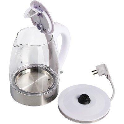 Электрический чайник Rolsen RK-3717G белый (RK-3717G white)Электрические чайники Rolsen<br>Чайник электрический Rolsen RK-3717G 1.7л. 2200Вт белый (корпус: стекло)<br>