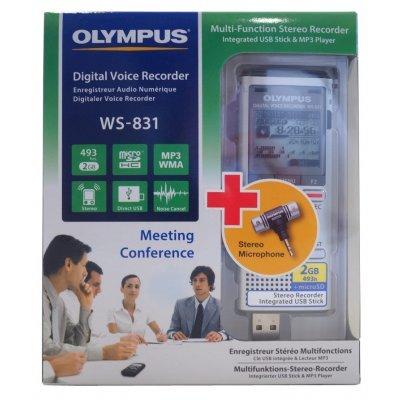 Цифровой диктофон Olympus WS-831 +ME-51S 2Gb серебристый (WS-831+ME-51S)Цифровые диктофоны Olympus<br>Диктофон Цифровой Olympus WS-831 +ME-51S 2Gb серебристый<br>