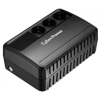 Источник бесперебойного питания CyberPower BU-725E (1PE-C000576-00G)Источники бесперебойного питания CyberPower<br>интерактивный ИБП<br>1-фазное входное напряжение<br>выходная мощность 725 ВА / 390 Вт<br>выходных разъемов: 3<br>разъемов с питанием от батареи: 3<br>время зарядки 8 ч<br>