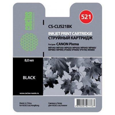 Картридж совместимый для струйных принтеров Cactus CS-CLI521BK для Canon MP540/MP550/MP620/MP630 Black (CS-CLI521BK)Картриджи совместимые для струйных принтеров Cactus<br>Картридж Cactus, Black (черный), для Canon MP540/MP550/MP620/MP630/MP640/MP660/MP980/MP990/iP3600/iP4600/iP4700/MX860<br>