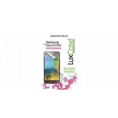 Пленка защитная для смартфонов LuxCase для Samsung Galaxy E5 (Суперпрозрачная) (80894)Пленки защитные для смартфонов LuxCase<br>Защитная пленка LuxCase  для Samsung Galaxy E5 (Суперпрозрачная), 141x70 мм SM-E500<br>