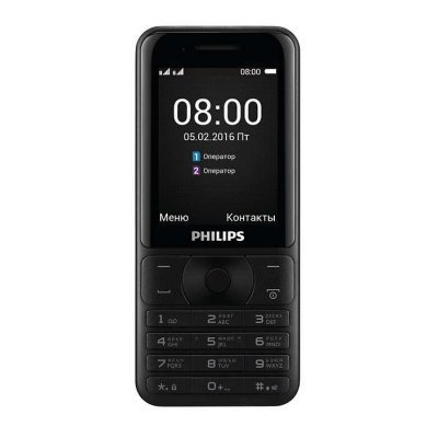 Мобильный телефон Philips E181 черный (867000136746) мобильный телефон ginzzu m201 black 2 4 tft 240x320 2sim 1 3mp fm bt 1200mah