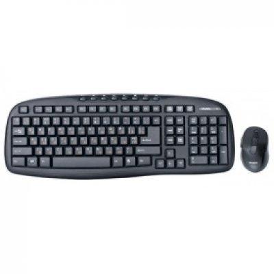 Комплект клавиатура+мышь SVEN Comfort 3400 Wireless чёрный (SV-03103400WB)Комплекты клавиатура мышь SVEN<br>Беспроводной набор клавиатура+мышь SVEN Comfort 3400 Wireless, чёрный, 104+8 клавиш, классическая ра<br>