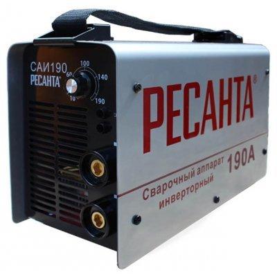 Сварочный инвертор Ресанта САИ-190 (65/2)Сварочные инверторы Ресанта<br>сварочный инвертор<br>типы сварки: ручная дуговая (MMA)<br>макс. сварочный ток: 190 А (MMA)<br>диаметр электрода: 5 мм<br>антиприлипание<br>горячий старт<br>