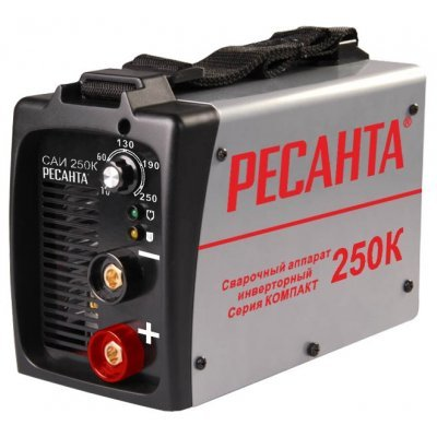 Сварочный инвертор Ресанта САИ-250К (65/38)Сварочные инверторы Ресанта<br>сварочный инвертор<br>типы сварки: ручная дуговая (MMA)<br>макс. сварочный ток: 250 А (MMA)<br>диаметр электрода: 6 мм<br>антиприлипание<br>горячий старт<br>