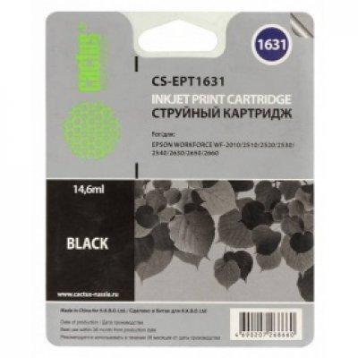 Картридж совместимый для струйных принтеров Cactus CS-EPT1631 черный для Epson WF-2010/2510/2520/2530/2540/2630/2650/2660 (14.6мл) (CS-EPT1631)Картриджи совместимые для струйных принтеров Cactus<br>Картридж струйный Cactus CS-EPT1631 черный для Epson WF-2010/2510/2520/2530/2540/2630/2650/2660 (14.6мл)<br>