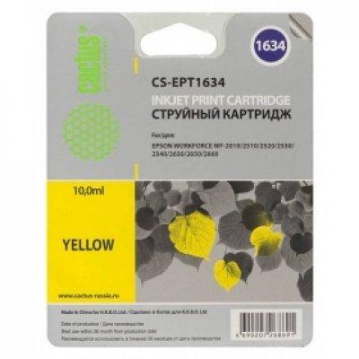Картридж совместимый для струйных принтеров Cactus CS-EPT1634 желтый для Epson WF-2010/2510/2520/2530/2540/2630/2650/2660 (9.6мл) (CS-EPT1634) картридж совместимый для струйных принтеров cactus cs pgi29y желтый для canon pixma pro 1 36мл cs pgi29y