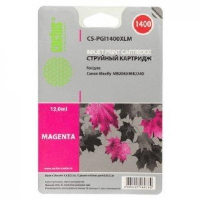 Картридж совместимый для струйных принтеров Cactus CS-PGI1400XLM пурпурный для Canon MB2050/MB2350/MB2040/MB2340 (11.5мл) (CS-PGI1400XLM)Картриджи совместимые для струйных принтеров Cactus<br>Картридж струйный Cactus CS-PGI1400XLM пурпурный для Canon MB2050/MB2350/MB2040/MB2340 (11.5мл)<br>