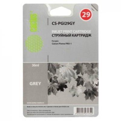 Картридж совместимый для струйных принтеров Cactus CS-PGI29GY серый для Canon Pixma Pro-1 (36мл) (CS-PGI29GY)Картриджи совместимые для струйных принтеров Cactus<br>Картридж струйный Cactus CS-PGI29GY серый для Canon Pixma Pro-1 (36мл)<br>