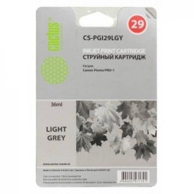 Картридж совместимый для струйных принтеров Cactus CS-PGI29LGY светло-серый для Canon Pixma Pro-1 (36мл) (CS-PGI29LGY) cactus cs pgi29r red картридж струйный для canon pixma pro 1