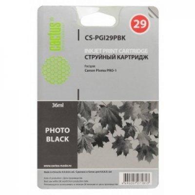 Картридж совместимый для струйных принтеров Cactus CS-PGI29PBK фото черный для Canon Pixma Pro-1 (36мл) (CS-PGI29PBK) cactus cs pgi29r red картридж струйный для canon pixma pro 1