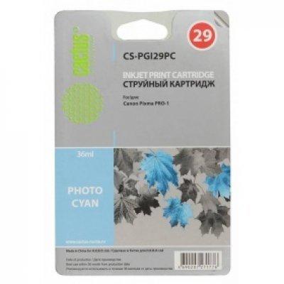 Картридж совместимый для струйных принтеров Cactus CS-PGI29PC фото голубой для Canon Pixma Pro-1 (36мл) (CS-PGI29PC)Картриджи совместимые для струйных принтеров Cactus<br>Картридж струйный Cactus CS-PGI29PC фото голубой для Canon Pixma Pro-1 (36мл)<br>