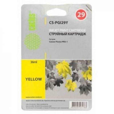 Картридж совместимый для струйных принтеров Cactus CS-PGI29Y желтый для Canon Pixma Pro-1 (36мл) (CS-PGI29Y) cactus cs pgi29r red картридж струйный для canon pixma pro 1
