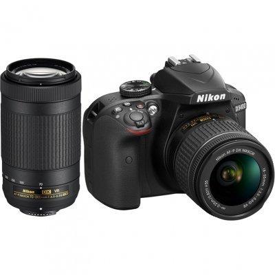 Цифровая фотокамера NIKON D3400 Kit 18-55 AF-P VR + 70-300 AF-P VR Black (VBA490K005)Цифровые фотокамеры Nikon<br>D3400 черный 24.2Mpix 18-55mm VR Af-P + 70-300 VR Af-P 2.9 1080p Full HD SDXC Li-ion (с объективом)<br>