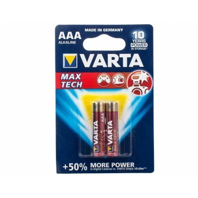 Аккумуляторная батарейка ААА Varta MAX TECH бл 2 04703101412 (4703101412), арт: 251780 -  Аккумуляторные батарейки ААА Varta