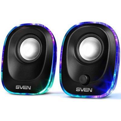 Компьютерная акустика SVEN 330 (SV-014001)Компьютерная акустика SVEN<br>SVEN 330, чёрный, USB, акустическая система 2.0,  мощность 2x2,5 Вт(RMS), подсветка<br>