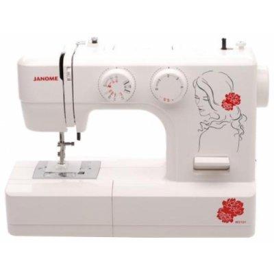Швейная машина Janome My Style 101 белый/цветы (MY STYLE 101)Швейные машины Janome<br>швейная машина<br>электромеханическое управление<br>горизонтальный челнок<br>количество операций: 18<br>полуавтоматическая обработка петли<br>обметочная строчка, потайная строчка, эластичная строчка, эластичная потайная строчка<br>рукавная платформа<br>