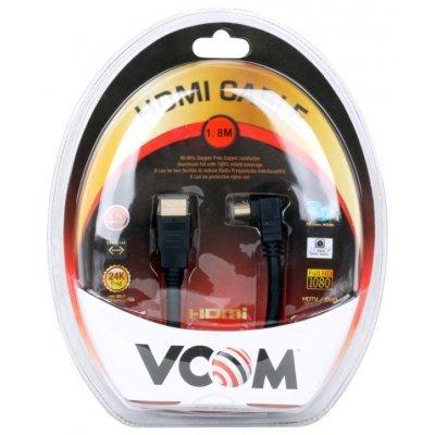 Кабель HDMI VCOM VHD6260-1.8MB 1.8м (VHD6260-1.8MB)Кабели HDMI VCOM<br>Кабель HDMI 19M/M Ver1.4 VCOM  Угловой коннектор 1.8м, позолоченные контакты, пакет<br>