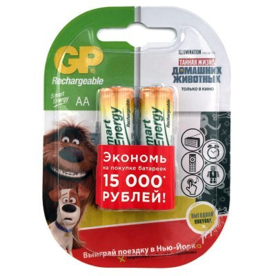 Аккумуляторная батарейка АА GP Smart Energy 100AAHCSV AA NiMH 1000mAh (2шт) (GP 100AAHCSV-2CR2) аккумуляторы gp 2шт aaa 1000mah nimh 100aaahc 2cr2