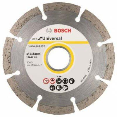 Пильный диск Bosch ECO Universal 2608615027 алмазный универсальный (2608615027)Пильные диски Bosch<br>Алмазный диск универсальный Bosch ECO Universal (2608615027) d=115мм d(посад.)=22.23мм (угловые шлифмашины)<br>