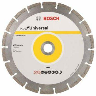 Пильный диск Bosch ECO Universal 2608615031 алмазный универсальный (2608615031)Пильные диски Bosch<br>Алмазный диск универсальный Bosch ECO Universal (2608615031) d=230мм d(посад.)=22.23мм (угловые шлифмашины)<br>