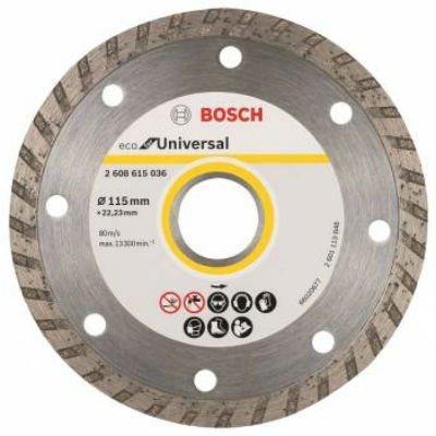 Пильный диск Bosch ECO Univ.Turbo 2608615036 алмазный универсальный (2608615036)Пильные диски Bosch<br>Алмазный диск универсальный Bosch ECO Univ.Turbo (2608615036) d=115мм d(посад.)=22.23мм (угловые шлифмашины)<br>