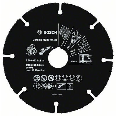 Пильный диск Bosch 2608623013 по дереву (2608623013)Пильные диски Bosch<br>Отрезной диск по дереву Bosch 2608623013 d=125мм d(посад.)=22.23мм (угловые шлифмашины)<br>