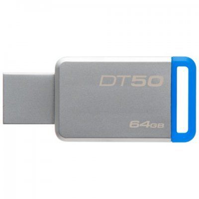 USB накопитель Kingston 64Gb DataTraveler 50 DT50/64GB USB3.1 синий (DT50/64GB)USB накопители Kingston<br>Флеш Диск Kingston 64Gb DataTraveler 50 DT50/64GB USB3.1 синий<br>