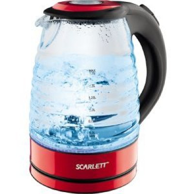 Электрический чайник Scarlett SC-EK27G96 красный (SC-EK27G96)Электрические чайники Scarlett<br>Чайник электрический Scarlett SC-EK27G96 1.7л. 2200Вт красный (корпус: стекло)<br>