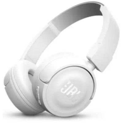 Bluetooth-гарнитура JBL T450BT белый (JBLT450BTWHT)Bluetooth-гарнитуры JBL<br>JBL T450BT - наушники беспроводные, есть возможность подключения через кабель, накладные, закрытые, Bluetooth 4.0, частотный диапазон 20 - 20000Гц, регулятор громкости, микрофон, импеданс 32Ом, 3.5 мм (mini jack), диаметр мембраны 32мм. Время непрерывной работы 11 ч, время заряда 2ч.<br>