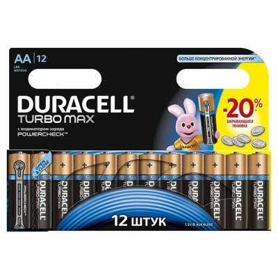 Батарея Duracell Turbo MAX LR6-12BL AA (LR6-12BL turbo) батарейка aa duracell lr6 turbo max bl8 8 штук