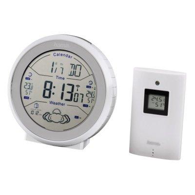 Метеостанция Hama EWS-820 белый (00123128)Метеостанции Hama<br>термо/гидродатчик 1; радиус действия датчиков 50м; календарь; часы; будильник; белый<br>