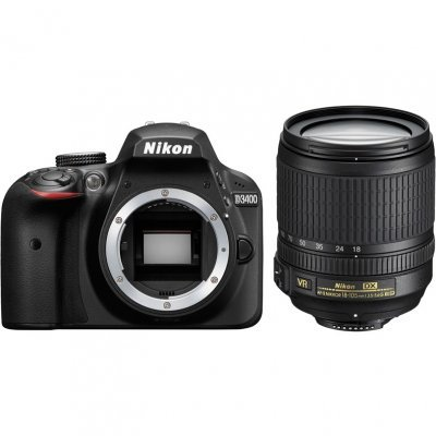 Цифровая фотокамера Nikon D3400 черный 24.2Mpix 18-105mm VR (VBA490K003) зеркальный цифровой фотоаппарат nikon d5300 18 105 vr kit black