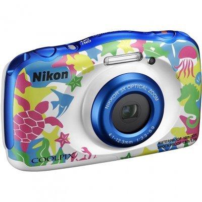 Цифровая фотокамера Nikon CoolPix W100 аквамарин (VQA014K001)Цифровые фотокамеры Nikon<br>Фотоаппарат Nikon CoolPix W100 аквамарин 13.2Mpix Zoom3x 2.7 1080p 22Mb SDXC/SD/SDHC CMOS 1x3.1 5minF HDMI/KPr/DPr/WPr/FPr/WiFi/EN-EL19<br>