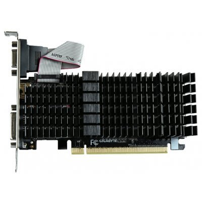 Видеокарта ПК Gigabyte GeForce GT 710 954Mhz PCI-E 2.0 1024Mb 1800Mhz 64 bit DVI HDMI HDCP Silent (GV-N710SL-1GL)Видеокарты ПК Gigabyte<br>видеокарта NVIDIA GeForce GT 710<br>1024 Мб видеопамяти GDDR3<br>частота ядра/памяти: 954/1800 МГц<br>разъемы DVI, HDMI, VGA<br>поддержка DirectX 12, OpenGL 4.5<br>пассивное охлаждение<br>работа с 2 мониторами<br>