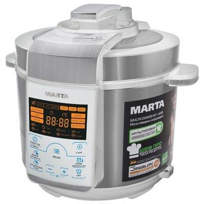 Мультиварка Marta MT-4310 белый/сталь (MT-4310 белый/сталь)Мультиварки Marta<br>скороварка/мультиварка<br>керамическое покрытие чаши<br>мощность 900 Вт<br>объем 5 л<br>электронное управление<br>мультиповар<br>поддержание тепла<br>отложенный старт<br>