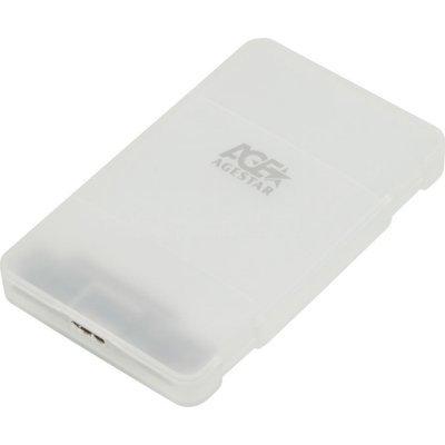 Корпус для жесткого диска Agestar 3UBCP3 (3UBCP3)Корпуса для жестких дисков Agestar<br>Внешний корпус для HDD AgeStar 3UBCP3 SATA алюминий белый 2.5<br>
