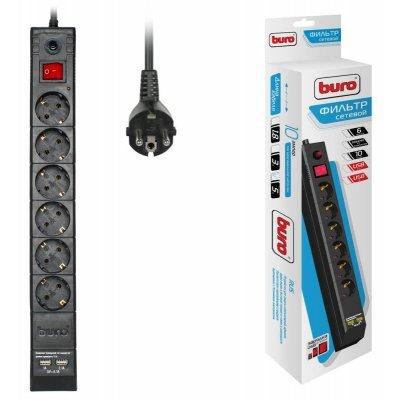 Сетевой фильтр Buro BU-SP5_USB_2A-B (BU-SP5_USB_2A-B)Сетевые фильтры Buro<br>Сетевой фильтр Buro BU-SP5_USB_2A-B 5м (6 розеток) черный (коробка)<br>