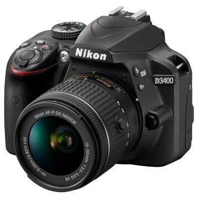 Цифровая фотокамера Nikon D3400 KIT+ AF-P 18-55 non VR (D3400 + AF-P 18-55 non VR) цифровая фотокамера nikon d3400 kit 18 55 af p black vba490k002